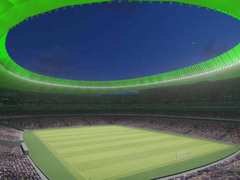 Neues Stadion von Atletico Madrid mit LED-Flutlicht und ...